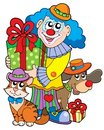 Party clown with cute animals Royalty Free Stock Photo