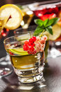 Party cocktails and longdrinks for summer garnished with fruits Royalty Free Stock Photography