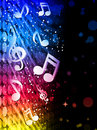 Party Colorful Waves Background with Music Notes Royalty Free Stock Photo