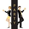 Party concept line cartoon style vector