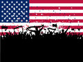 Party crowd on an American flag background Stock Image