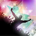 Party crowd background silhouette of a on an abstract Stock Image