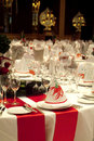 Party decorated tables Royalty Free Stock Photography