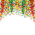Party decoration garlands streamer and confetti on white background Stock Photos