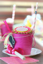 Party decorations pink for a girl s birthday Royalty Free Stock Photography