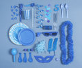 Party essentials on blue tones collection of festive elements Stock Photos