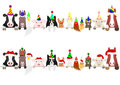 Party  farm animals border set Royalty Free Stock Photo