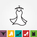 Party Fashion Dress Icon or Silhouette with Clothes Hanger Isolated