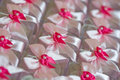 Party favors pink favor boxes with bows and pearl Royalty Free Stock Image