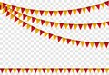 Party flags set, Colorful bunting for happy birthday cartoon art. Vector illustration Royalty Free Stock Photo