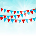 Party flags on sunny background Royalty Free Stock Photo