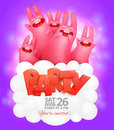 Party flyer template with dancing pink rabbits