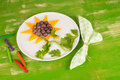 Party fruit dessert served shaped as a sunflower a kid desser Royalty Free Stock Photos