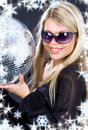 Party girl with disco ball Royalty Free Stock Photo