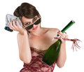 Party girl with hangover woman and ice pack over white background Stock Photos