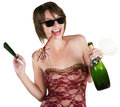 Party girl with wine bottle happy lady and favors on white background Stock Photos