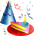 Party hat and Cake slice Stock Image