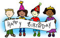 Party hat kids with banner Royalty Free Stock Photo