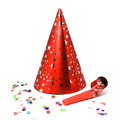 Party hat whistle and confetti for a isolated on white background Stock Photos