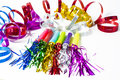 Party Horn Blower with colored streamers Royalty Free Stock Photo