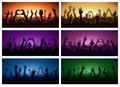 Party human hands silhouette music festival or concert streaming down from above stage fan zone vector illustration Royalty Free Stock Photo