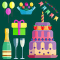 Party icons celebration happy birthday surprise decoration cocktail event anniversary vector.