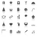 Party icons with reflect on white background stock Stock Photography