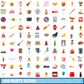 100 party icons set, cartoon style Royalty Free Stock Photo