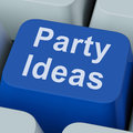 Party ideas key shows celebration showing planning suggestions Stock Photo