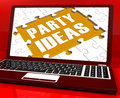 Party ideas laptop shows celebration planning showing suggestions Royalty Free Stock Photos