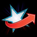 Party invitation blue star neon with red arrow Royalty Free Stock Image