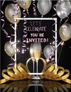 Party invitation card with glasses of champagne, serpentine and air balloons.