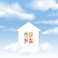 Party invitation concept cloud house in the sky Stock Photo