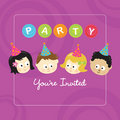 Party invitation w/ kids Royalty Free Stock Photo