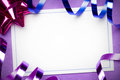 Party invite blank against a purple background Stock Image