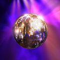 Party lights with disco ball Royalty Free Stock Photo