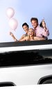 Party in limousine attractive young people having fun Royalty Free Stock Images