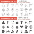 Party line ans simple icons set for web and mobile design