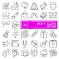 Party line icon set, celebration symbols collection, vector sketches, logo illustrations, entertainment signs linear