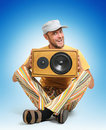 Party man with wooden speaker Royalty Free Stock Image