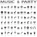 Party and music icons on a white background with shadow Royalty Free Stock Image