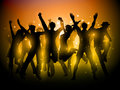 Party people background silhouette of a group of dancing Royalty Free Stock Photo