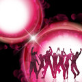 Party people background silhouette of a group of dancing Royalty Free Stock Image