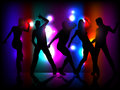 Party people silhouettes of dancing on colorful light background Stock Images