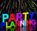 Party Planning Words Showing Birthday Or Anniversary Celebration Stock Image