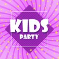 The party`s children are a colorful banner. Cartoon leaves and violet background. Abstract color gamut background. Vector