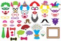 Party set. Clowns. Glasses, hats, lips, wigs, mustaches, tie
