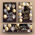 Party shiny banners with air balloons and serpentine. Royalty Free Stock Photo