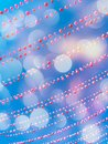 Party sky background with balloon decorations and bokeh lights