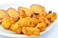 Party snacks meaty of bite size chicken bits and chicken wings Royalty Free Stock Images